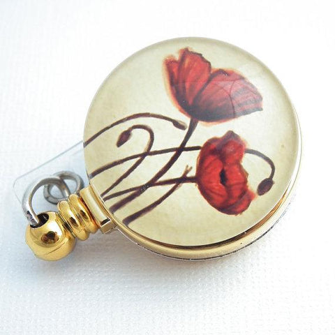 Red Poppies Retractable ID Flower Badge Reel