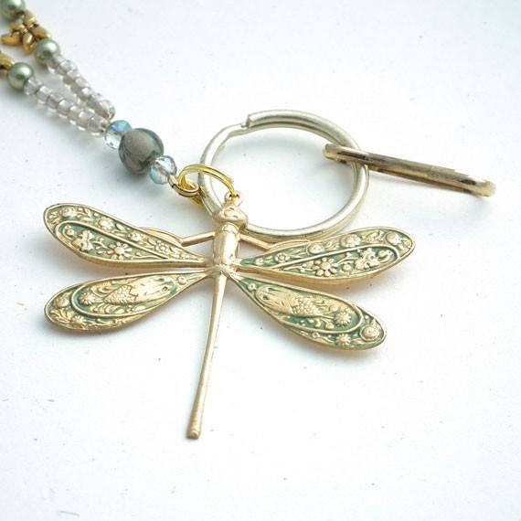 Green Gold Brass Dragonfly Beaded ID Badge Lanyard, Tiny Gold Plated Dragonflies, Green Beads - Plum Beadacious