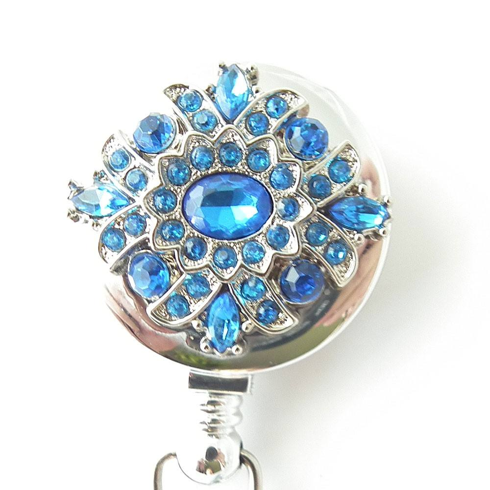 Blue Rhinestone Button on Badge Reel - Retractable ID Badge Holder 304 - Plum Beadacious  - 1