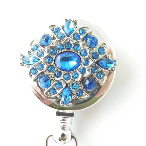 Blue Rhinestone Button on Badge Reel - Retractable ID Badge Holder 304