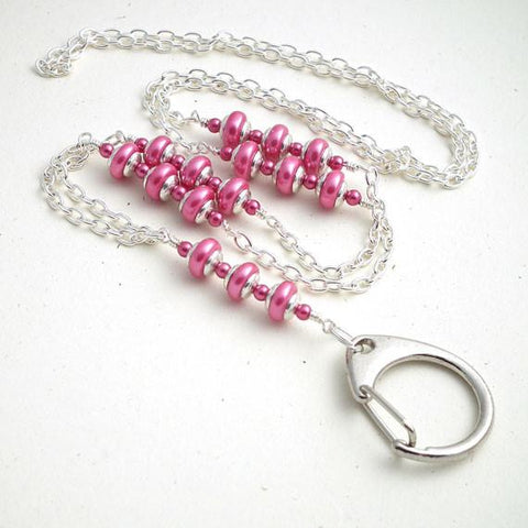 Chain ID Badge Lanyard, Pink Rondelle Pearls