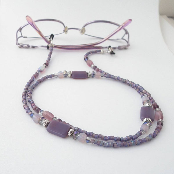 Plum Purple Glass Bead Eyeglass Chain - Reading Glasses Holder for Seamstress, Beader, Knitter - Plum Beadacious  - 5