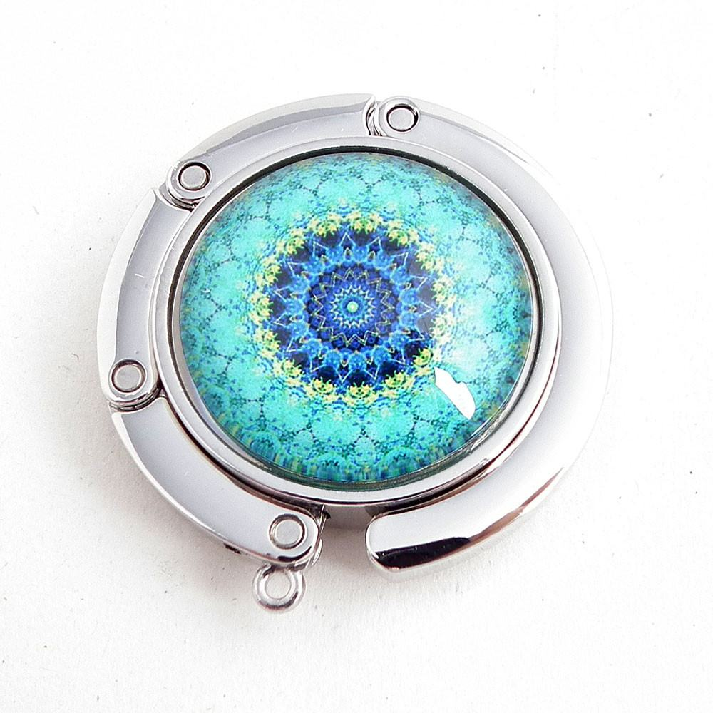 Aqua Mandala Photo Glass Cabochon, Purse Hanger - Plum Beadacious