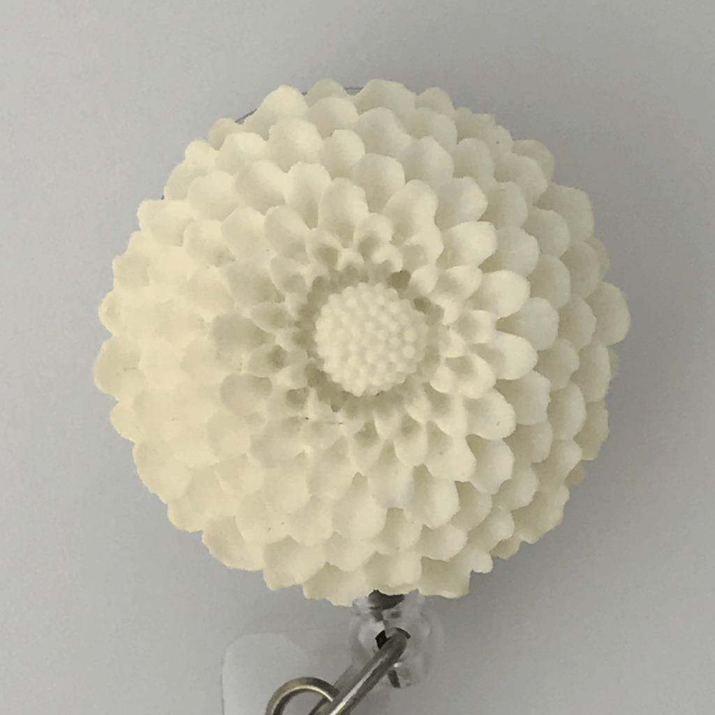 White Chrysanthemum Badge Reel