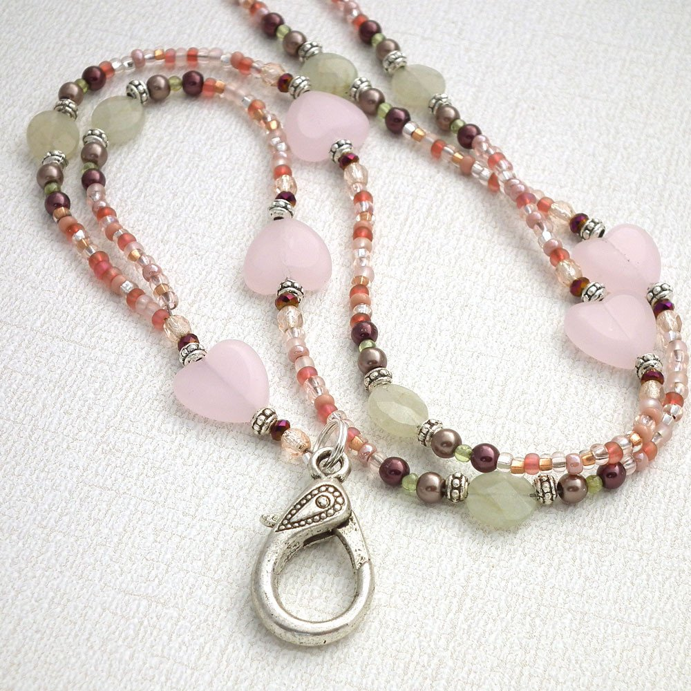 Feminine, Romantic Beaded Lanyard - Light Pink Hearts, Soft Green Beads - Plum Beadacious  - 1