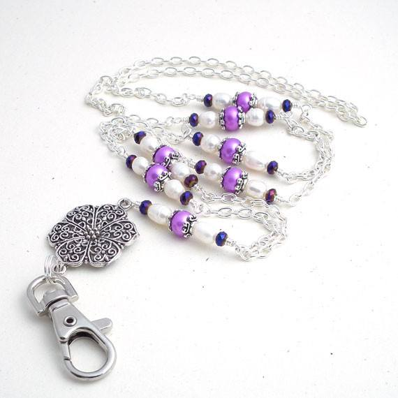 Silver Filigree Radiant Orchid Pearls ID Badge Lanyard - Plum Beadacious