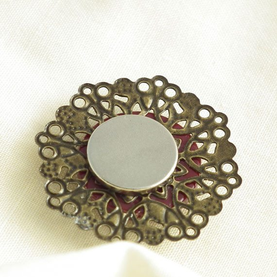 Vintage Rose Red Button Needle Minder on Antique Bronze Filigree - Plum Beadacious