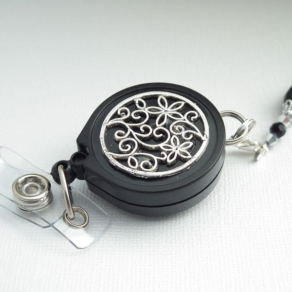 Black Silver Beaded Badge Reel Lanyard - Silver and Black Beads, Silver Flower Filigree on Black Badge Reel - Plum Beadacious
