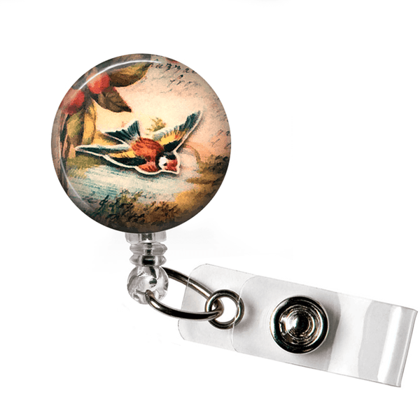 Bird ID Badge Reel, Robin in Flight on Vintage Background