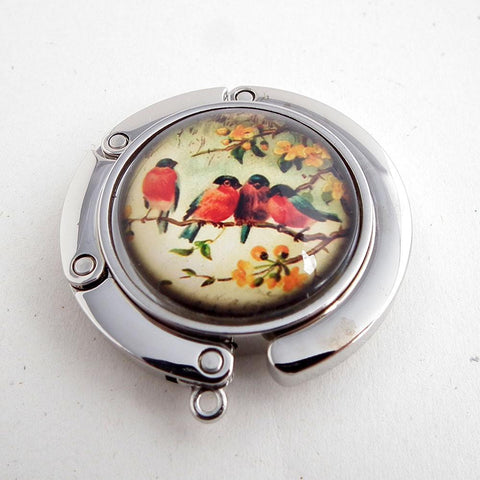Birds on a Branch Photo Glass Cabochon, Purse Hanger - Plum Beadacious