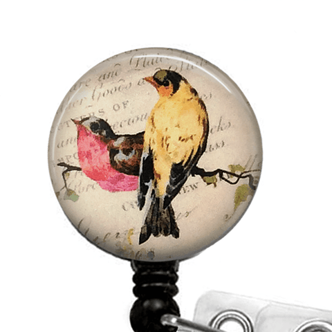 Colorful Bird Badge Reel - Vintage Handwriting Background - 345