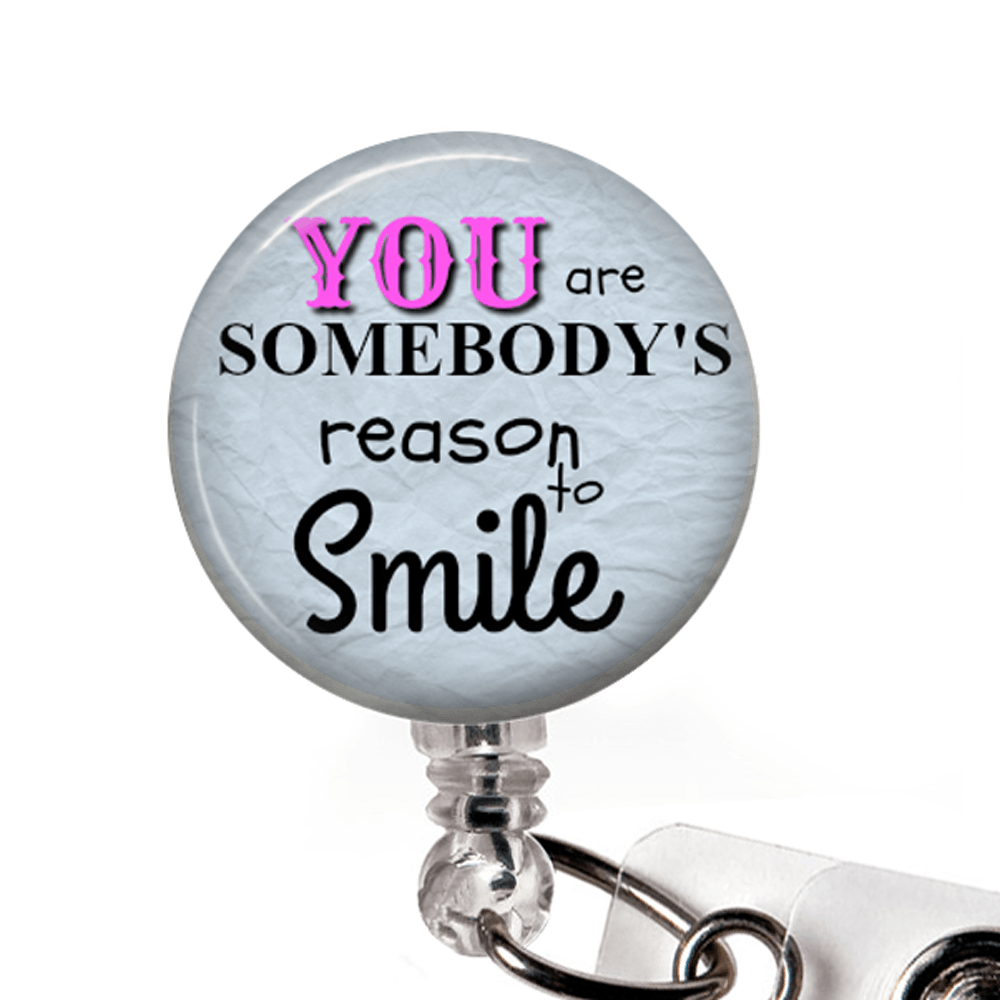 Reason to Smile ID Badge Holder- Blue, Inspirational Badge Reel -348