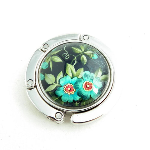 Blue Blossoms Photo Glass Cabochon, Purse Hanger - Plum Beadacious