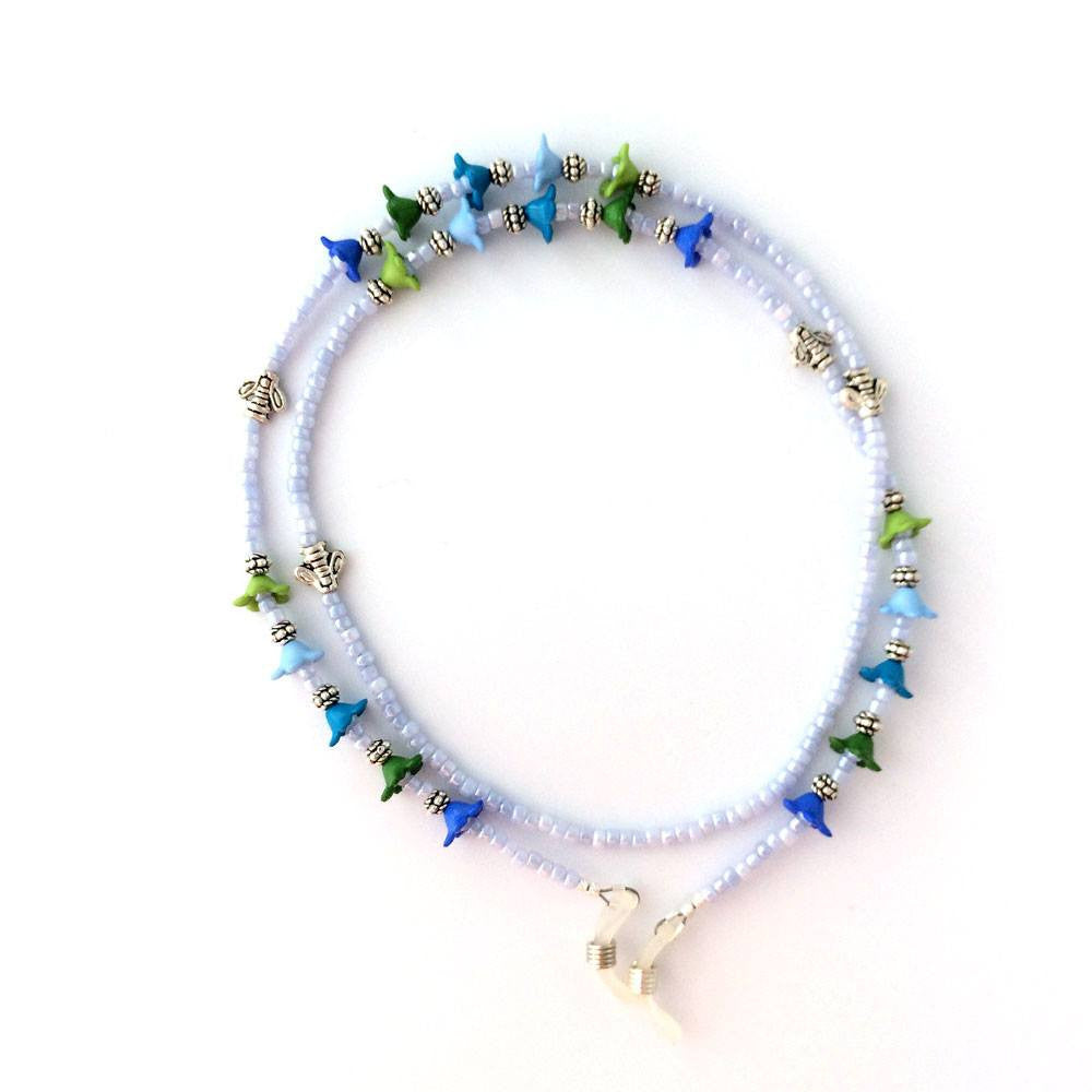 Blue and Green Flower Beaded Eyeglass Chain