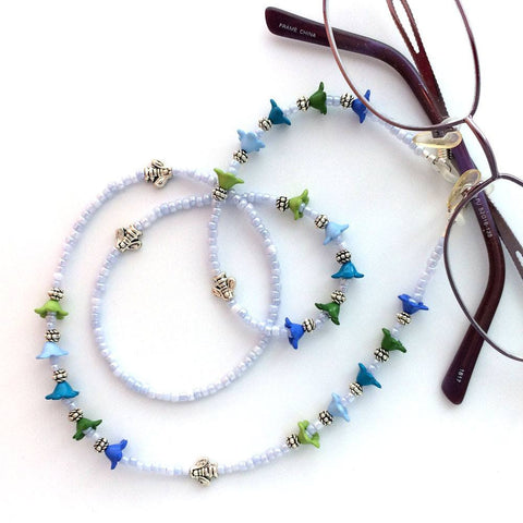 Blue and Green Flower Beaded Eyeglass Chain - 63