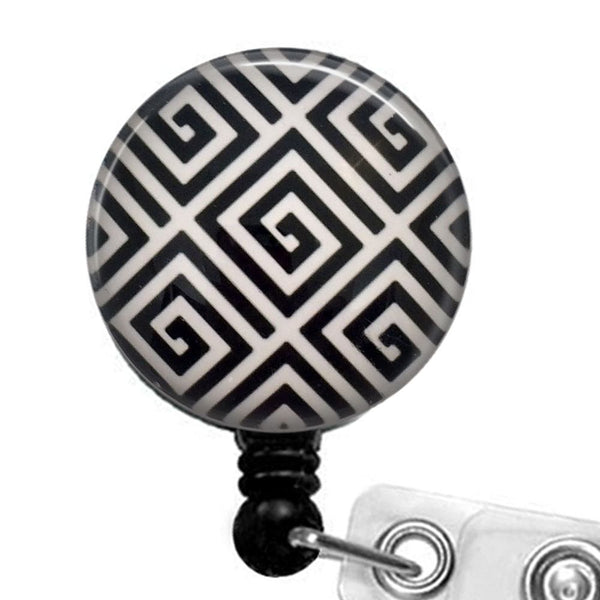 Black and White Geometric Design Badge Reel, ID Badge Holder 324 - Plum Beadacious  - 1