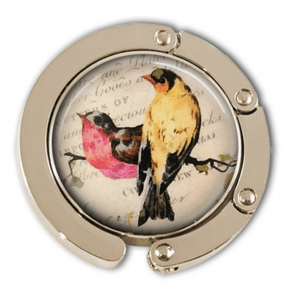 Colorful Birds on a Vintage Background Purse Hanger