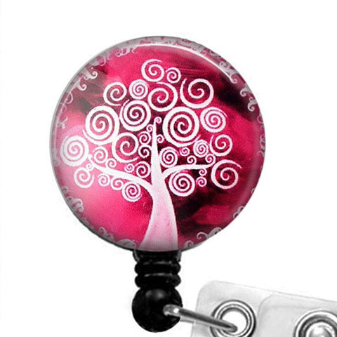White Tree on Pink Glass Dome Badge Holder, Retractable ID Badge Reel, ID Holder  298