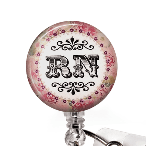 Nurse Badge Reel - RN Pink and Green ID Badge Holder - 344