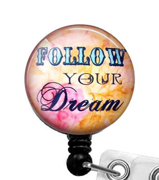 Follow Your Dream Glass Dome Retractable ID Badge Reel, Inspirational Quote  282 - Plum Beadacious