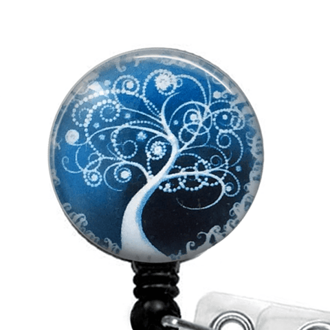 White Tree on Blue Glass Dome Retractable ID Badge Reel - 328 - Plum Beadacious