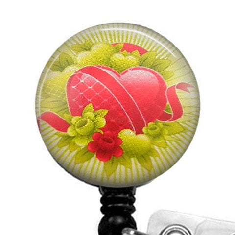 Red Heart and Ribbons with Green Hearts and Flowers on Black Badge Reel - Hearts Badge Reel 266