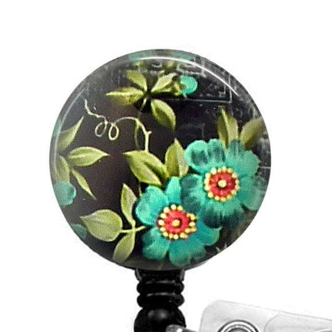 Retractable ID Badge Reel Blue Flower on Black - Flower Badge Reel  32 - Plum Beadacious  - 1