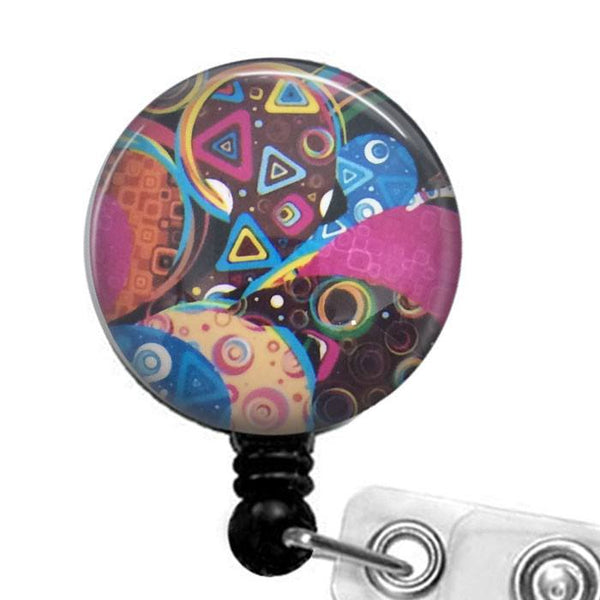 Colorful Abstract Design Badge Holder, ID Badge Reel 323 - Plum Beadacious - 1