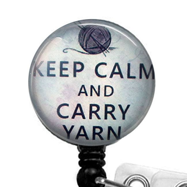Keep Calm and Carry Yarn Glass Dome Retractable ID Badge Reel - Knitters Name Badge Holder 295 - Plum Beadacious
