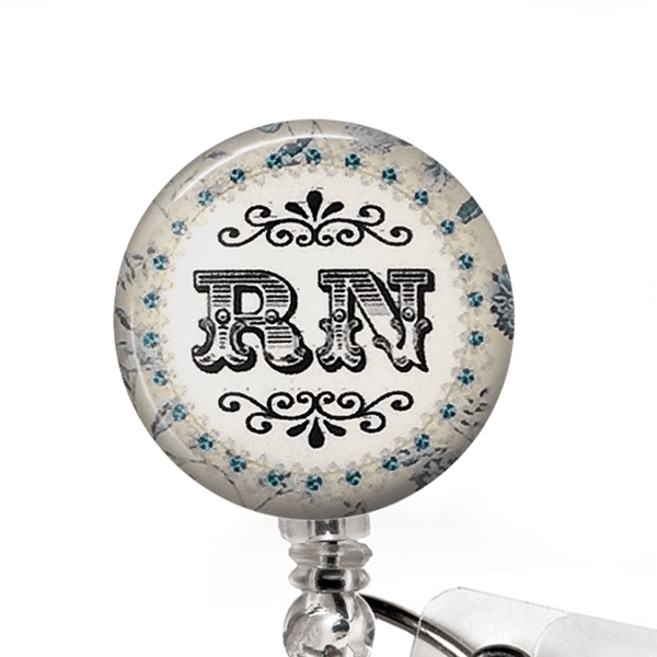Nurse Badge Reel - RN Blue and White ID Badge Holder - 342
