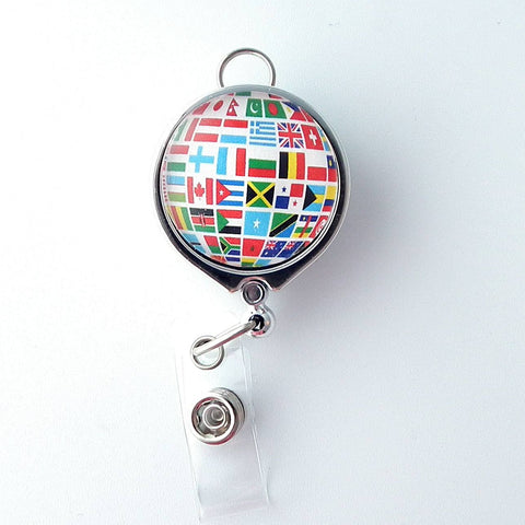 Custom Order for Susan - Flags on Globe Badge Reel - Double Magnets - Plum Beadacious  - 1