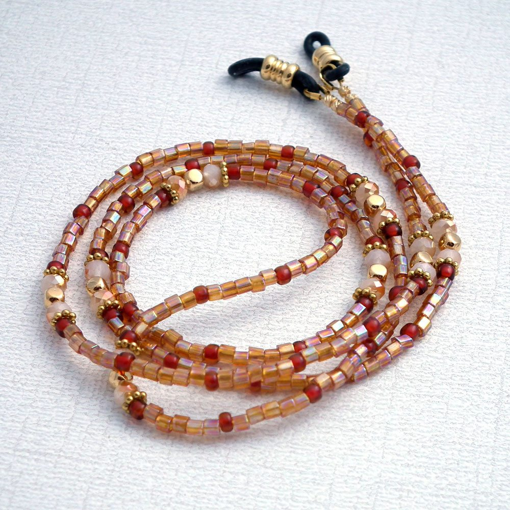 Golden Glass Seed Bead Eyeglass Chain - Basic Reading Glasses Holder for Seamstress, Beader, Knitter - Plum Beadacious