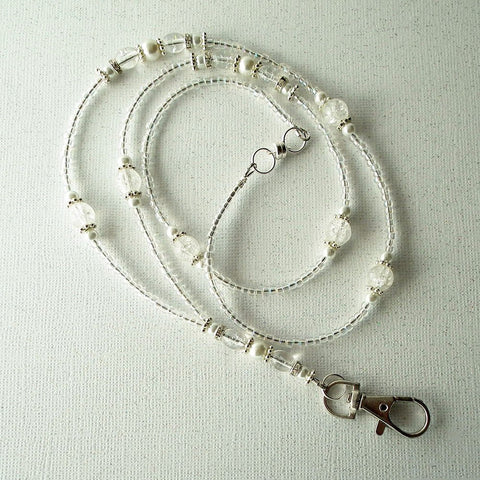 White Pearls, Clear Crackle Glass Beaded Lanyard with Crystal Rondelles, Silver Plated Findings - Plum Beadacious