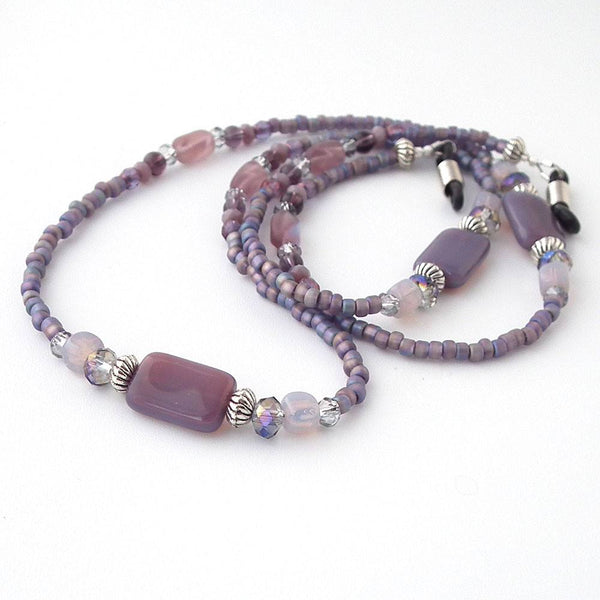 Plum Purple Glass Bead Eyeglass Chain - Reading Glasses Holder for Seamstress, Beader, Knitter - Plum Beadacious  - 4