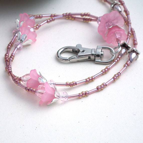 Pretty Pink Lucite Flowers Beaded Lanyard with Breakaway Clasp - Plum Beadacious  - 2