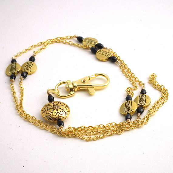 Gold Chain ID Badge Lanyard, Gold Round Disc Beads, Black Crystal Beads - Plum Beadacious