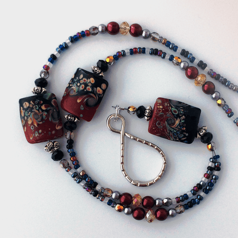 Red and Black Lampwork Beaded ID Badge Lanyard