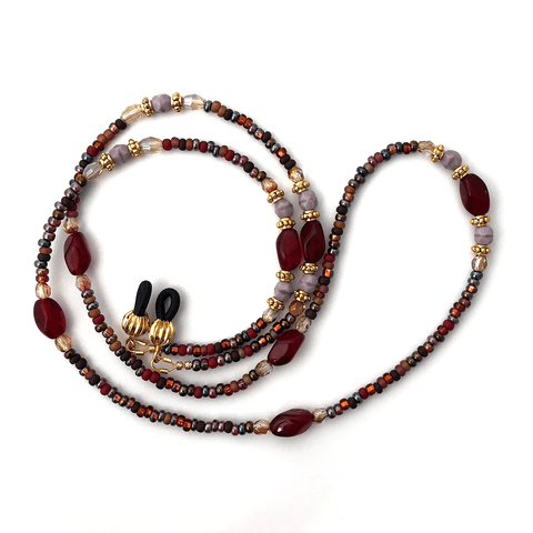 Red, Lavender and Gold Beaded Eyeglass Chain - Plum Beadacious