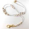 White Pearls, Clear Crackle Glass Beaded Lanyard with Crystal Rondelles, Gold Plated Findings
