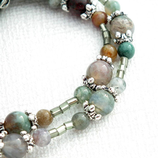 Jasper and Agate Beaded Lanyard - Green Beaded Lanyard - Plum Beadacious
