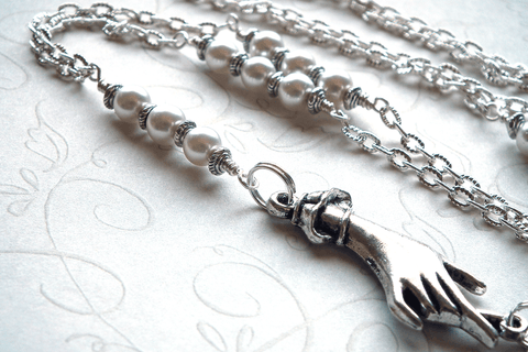 Silver Chain ID Badge Lanyard, Eyeglass Holder, Hand Charm, White Round Pearls - Plum Beadacious