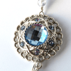 Blue Rhinestone and Crystal Silver Chain ID Badge Lanyard - Plum Beadacious  - 4