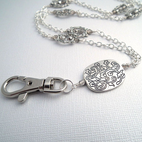 Silver Chain ID Badge Lanyard, Etched Silver Plated Pendant, FirePolished Czech Glass Crystals - Plum Beadacious