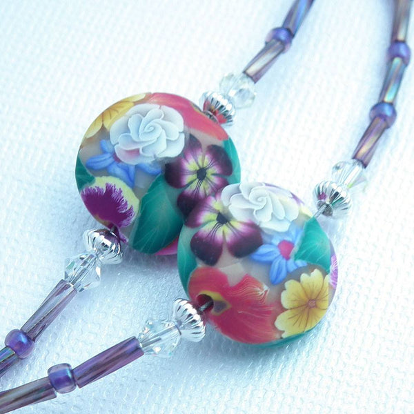 Beaded ID Badge Lanyard, Flower Polymer Clay Beads in Purple and Pink - Plum Beadacious