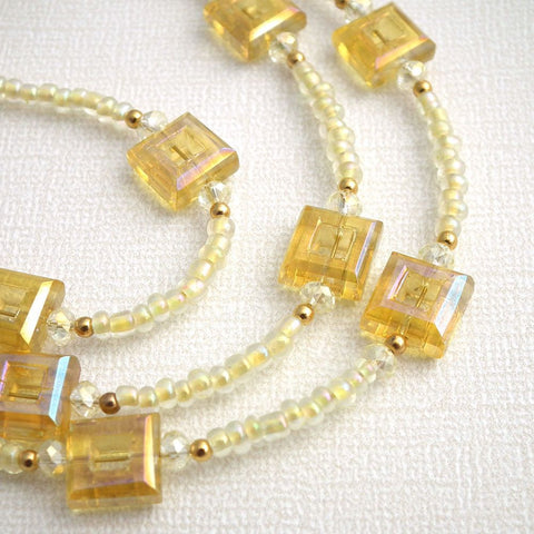 Beaded Eyeglass Chain - Yellow Glass Square Beads, Gold Plated Beads, Clear Crystals Reading Glasses Holder