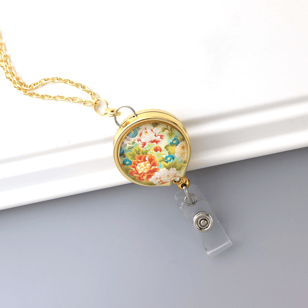 Custom Order for Helene - Bright Colorful Flowers on Gold  Badge Reel Lanyard and White Blossoms on Chrome Lanyard Badge Reel - Plum Beadacious  - 2