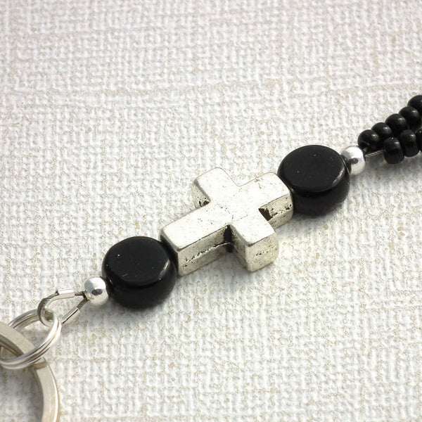 Black Beaded Lanyard with Silver Cross and Airplanes - Plum Beadacious