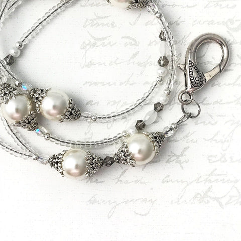 Elegant White Pearl and Silver ID Badge Lanyard - ID Necklace - Plum Beadacious