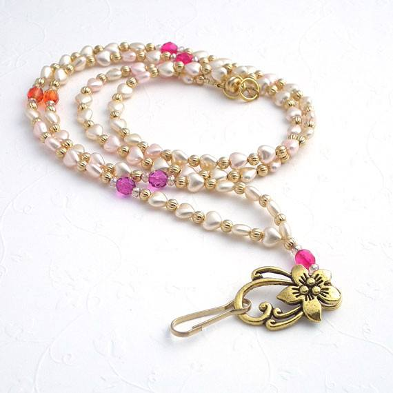 Tiny Pearl Hearts and Czech Crystals ID Badge Lanyard - Plum Beadacious