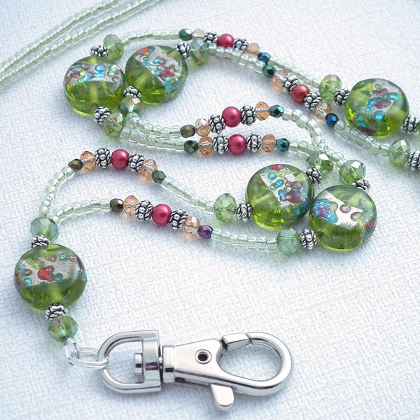 Green Beaded Lanyard - Green Foil Lamp-work Disc Beads, Glass Pearls, Crystals - Plum Beadacious